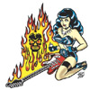 Guitar Girl Sticker - Fire